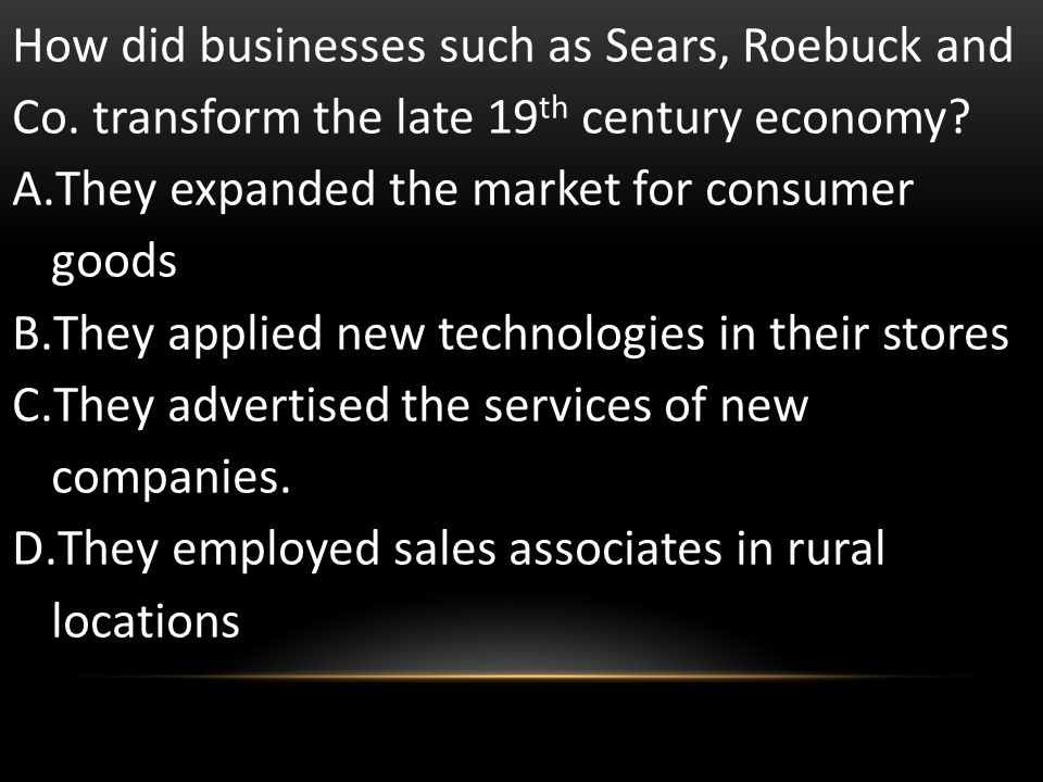 How did businesses such as Sears, Roebuck and Co