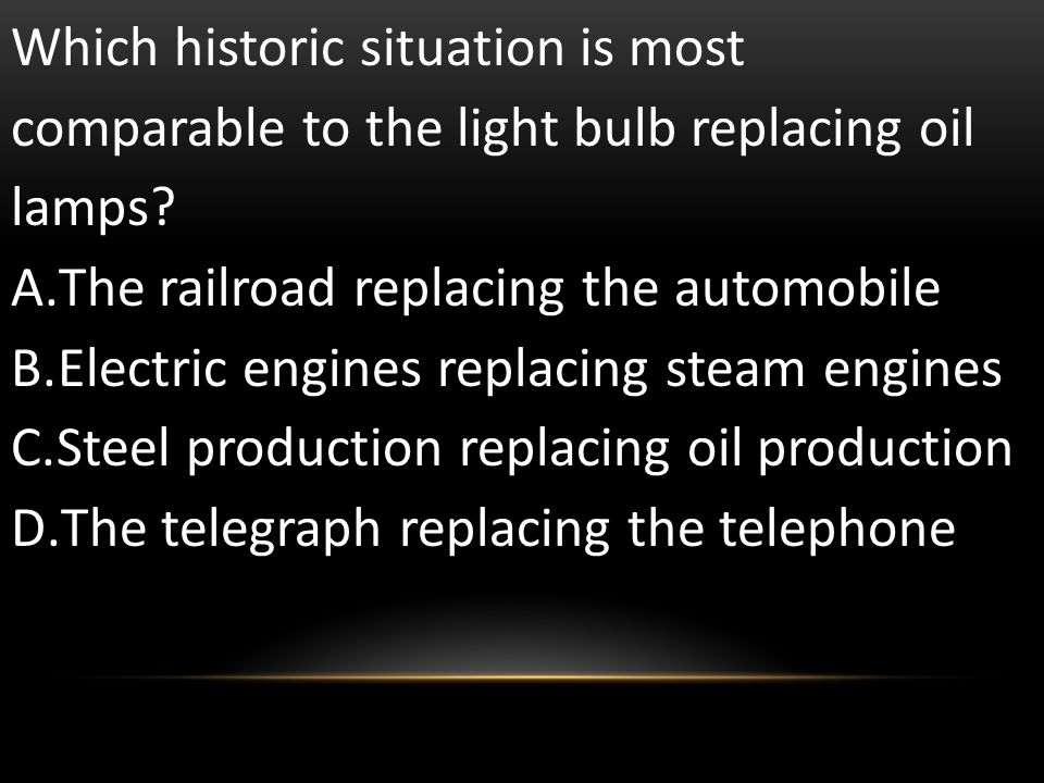 Which historic situation is most comparable to the light bulb replacing oil lamps