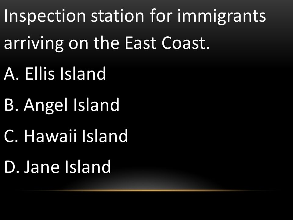 Inspection station for immigrants arriving on the East Coast.