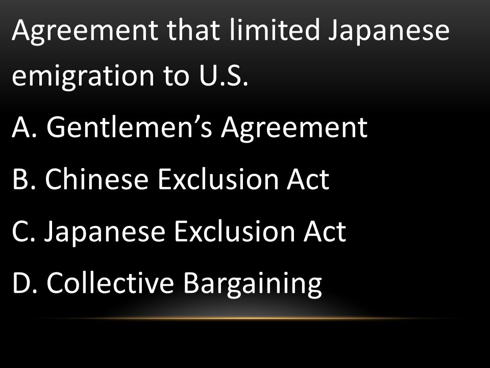 Agreement that limited Japanese emigration to U.S.