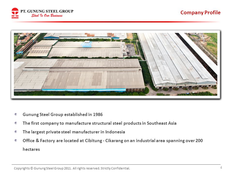 Company Profile Gunung Steel Group established in 1986