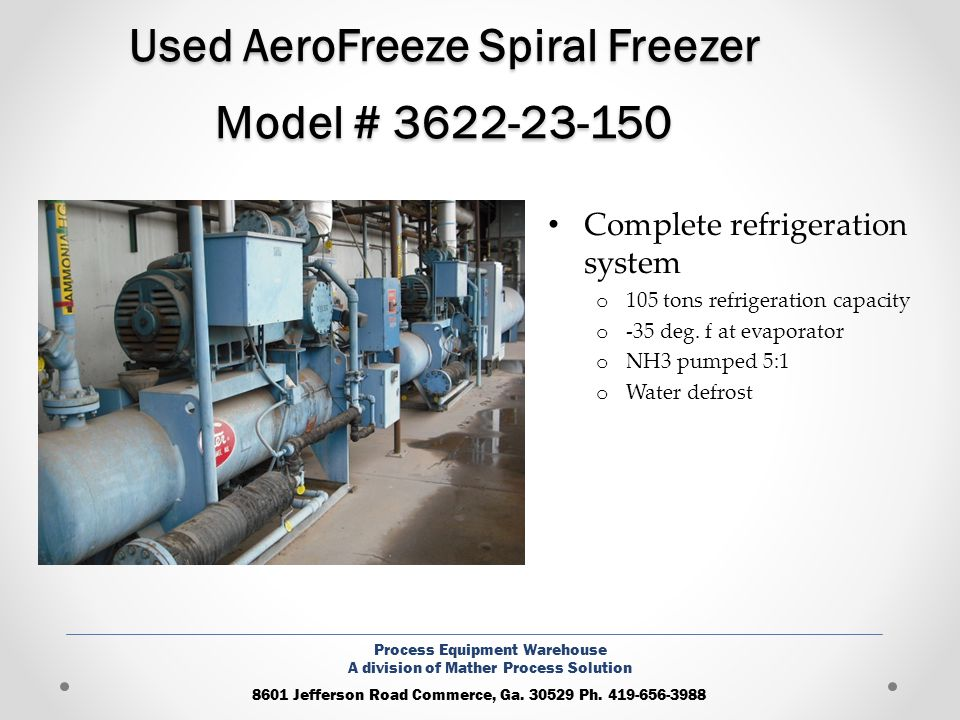 Used AeroFreeze Spiral Freezer Model # 3622-23-150