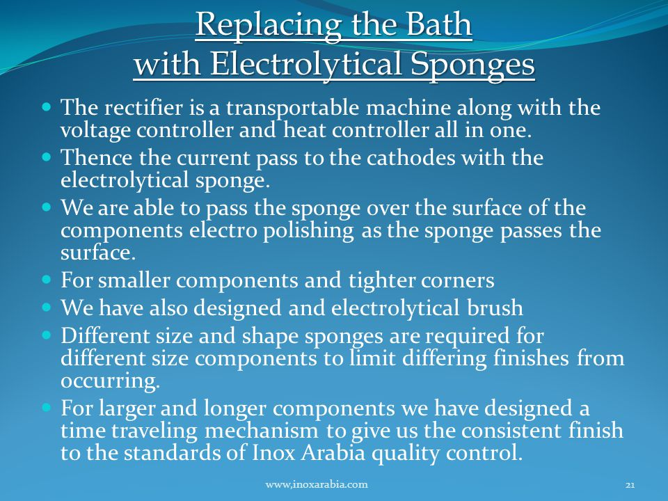 Replacing the Bath with Electrolytical Sponges