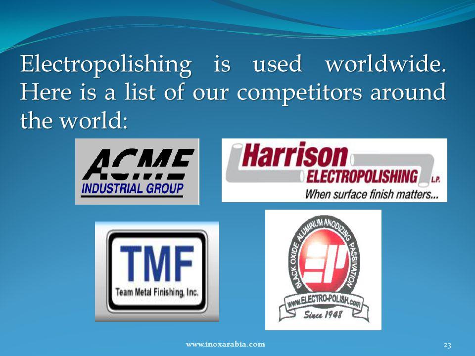 Electropolishing is used worldwide