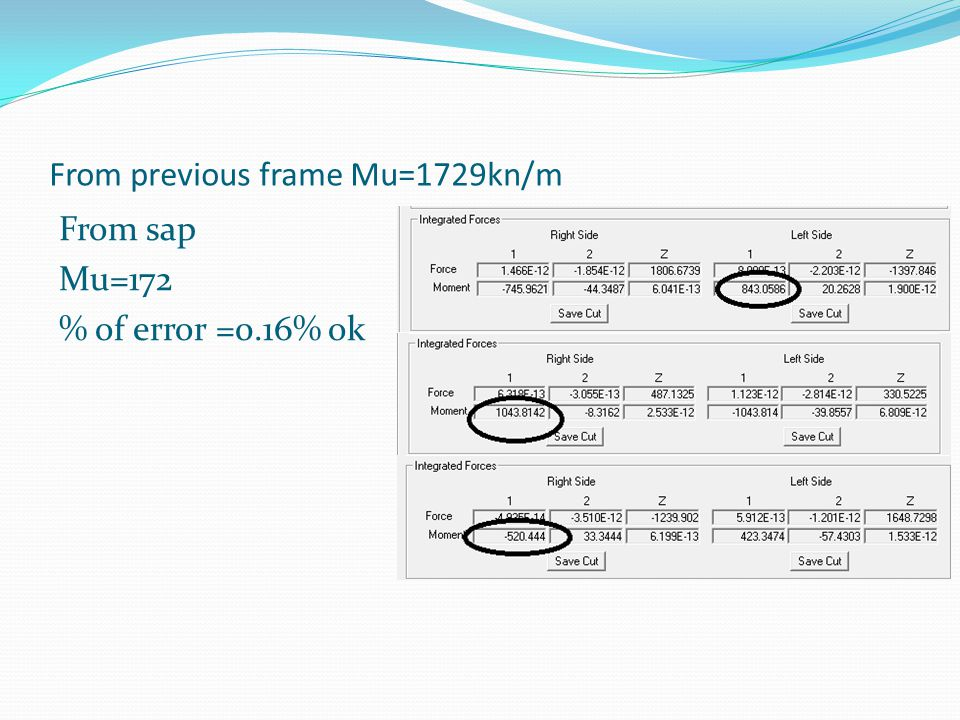 From previous frame Mu=1729kn/m