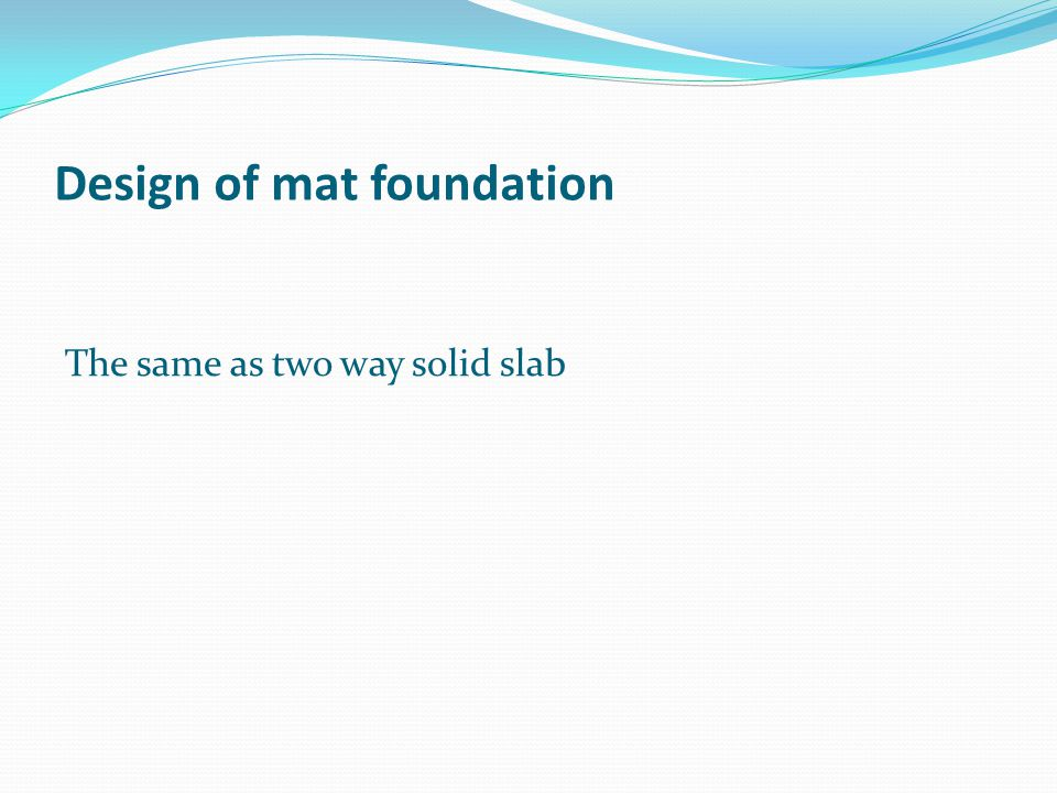 Design of mat foundation