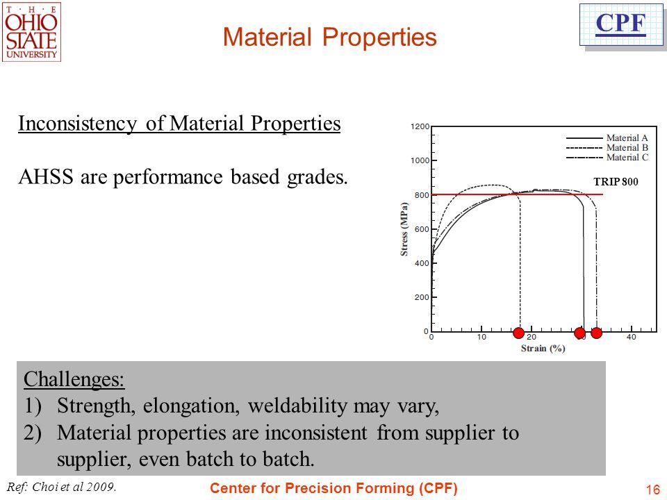Material Properties Inconsistency of Material Properties