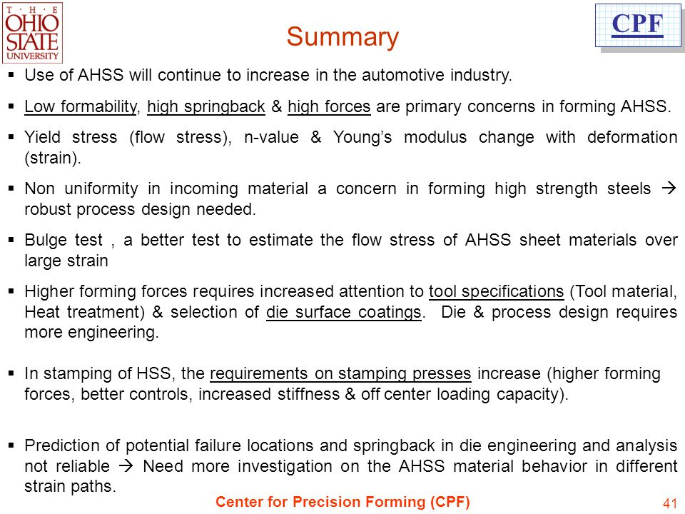 Summary Use of AHSS will continue to increase in the automotive industry.