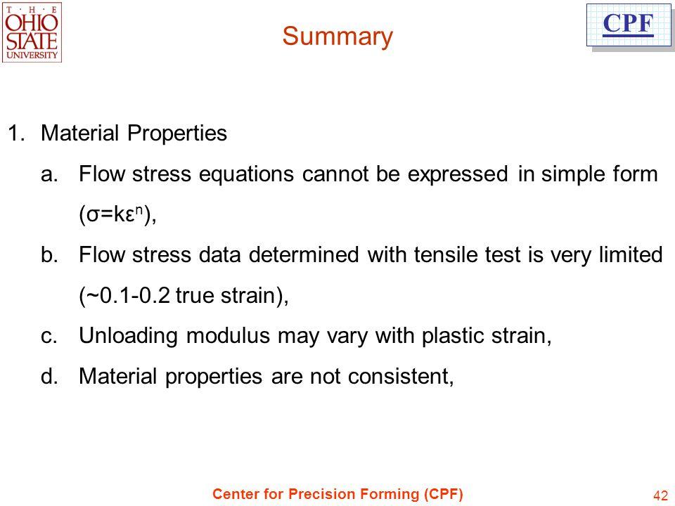 Summary Material Properties