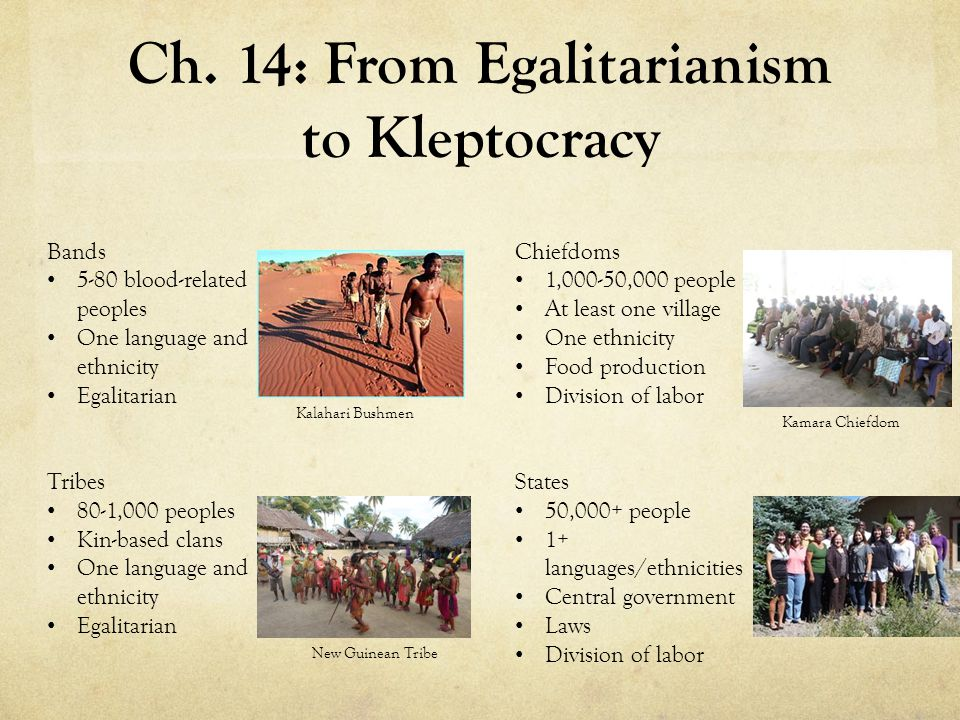 Ch. 14: From Egalitarianism to Kleptocracy