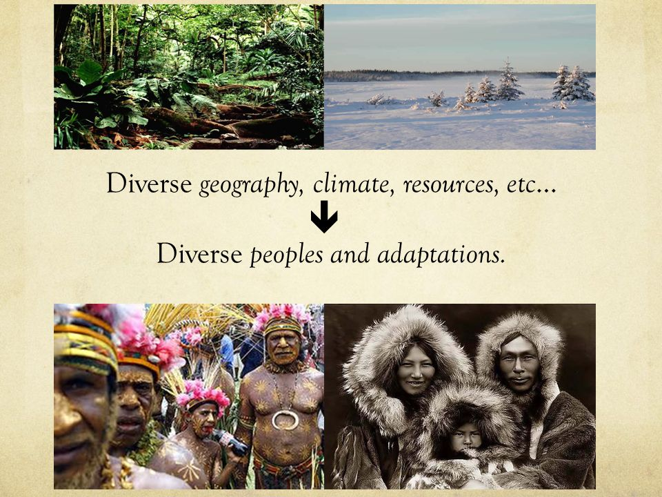  Diverse geography, climate, resources, etc… Diverse peoples and adaptations.