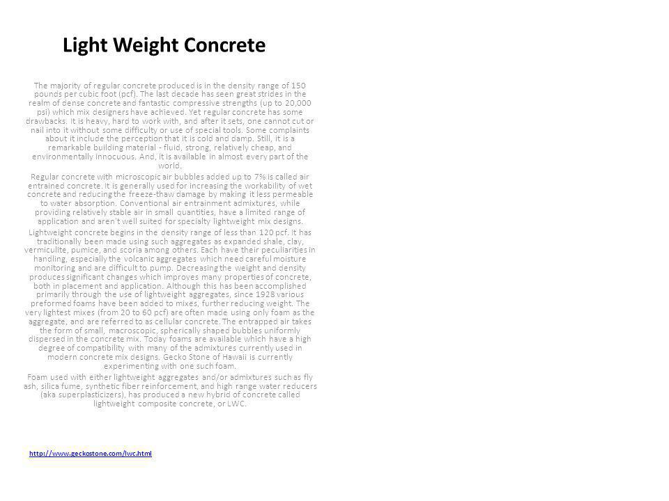 Light Weight Concrete