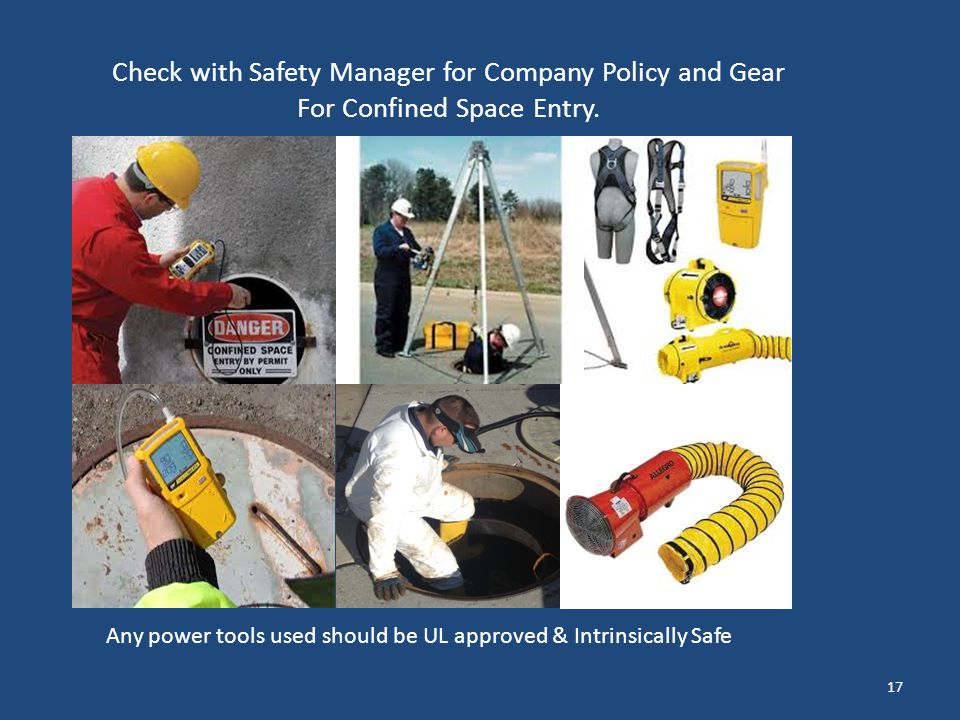 Check with Safety Manager for Company Policy and Gear For Confined Space Entry.