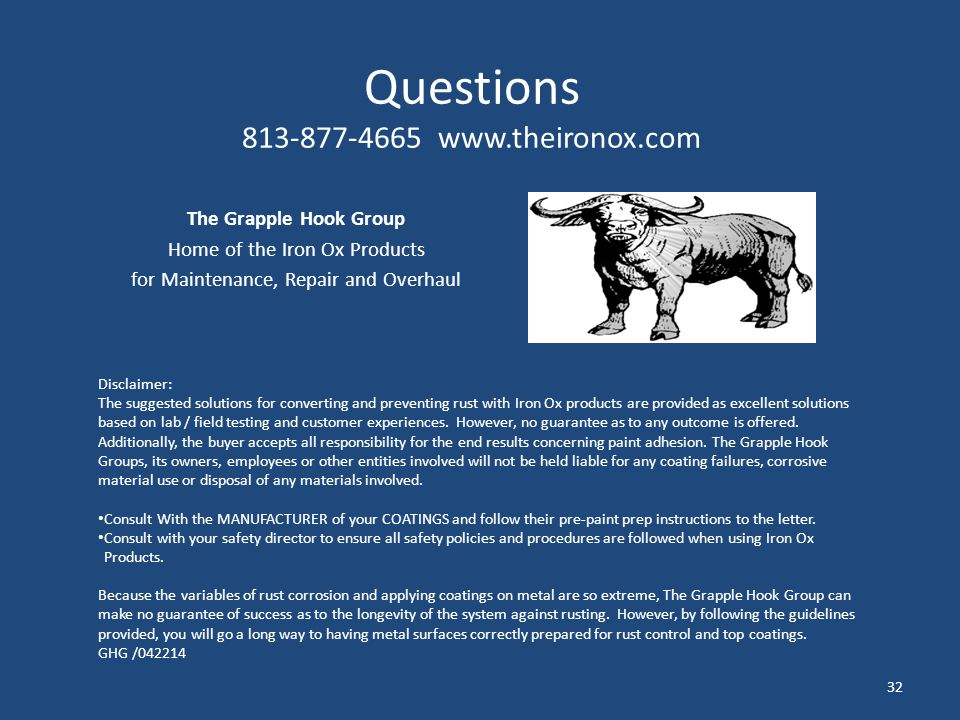 Questions 813-877-4665 www.theironox.com