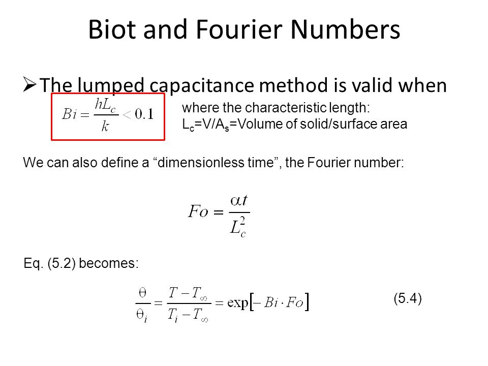 Biot and Fourier Numbers