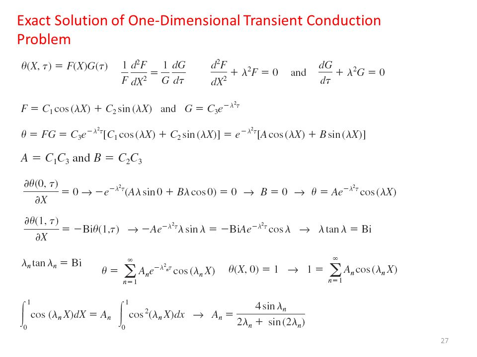 Exact Solution of One-Dimensional Transient Conduction Problem