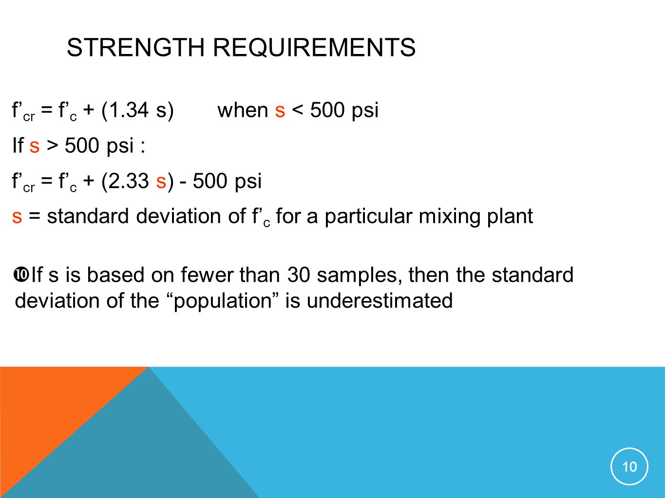 STRENGTH REQUIREMENTS