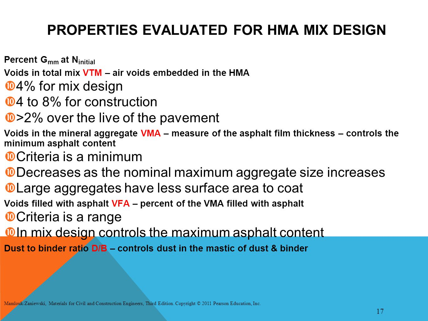 PROPERTIES EVALUATED FOR HMA MIX DESIGN