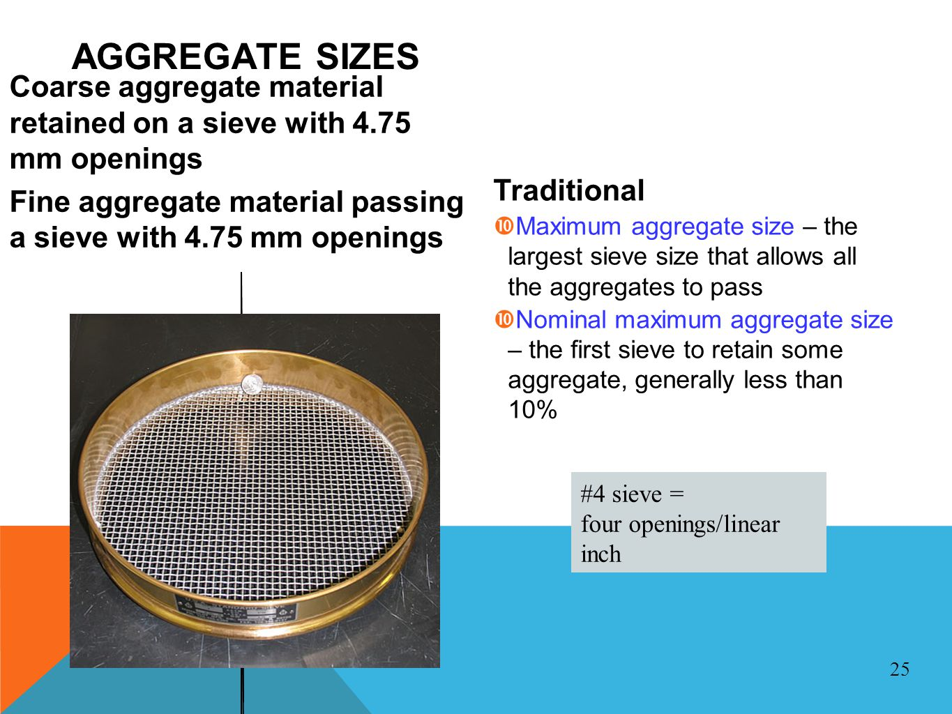 AGGREGATE SIZES Coarse aggregate material retained on a sieve with 4.75 mm openings.