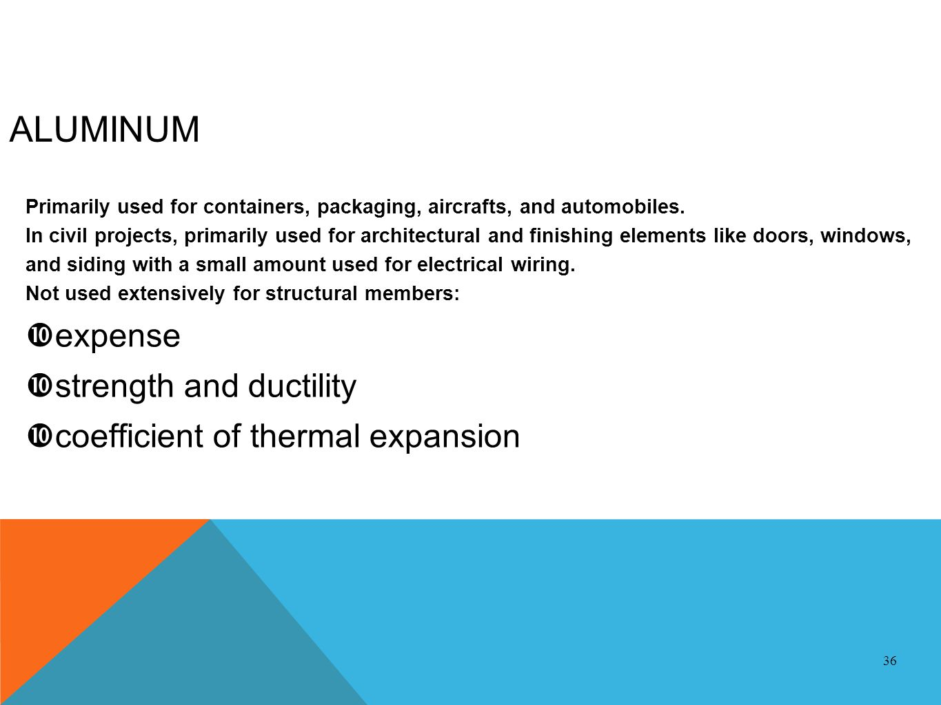 ALUMINUM expense strength and ductility