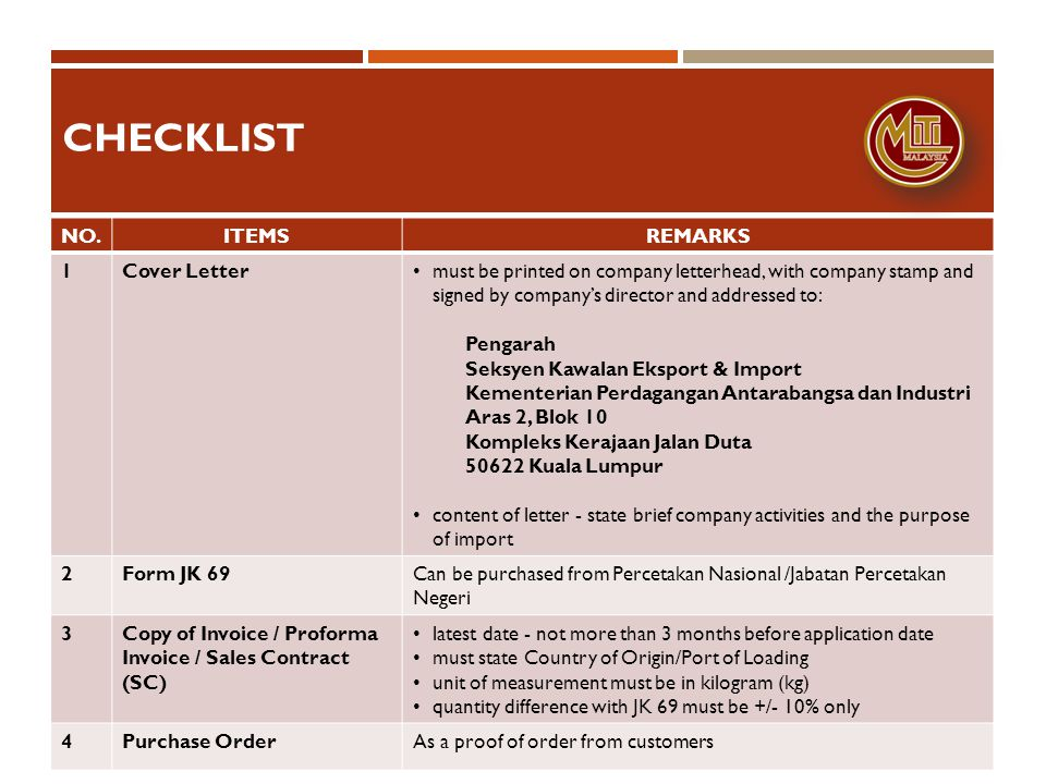 checklist NO. ITEMS REMARKS 1 Cover Letter