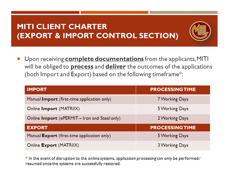 MITI Client charter (export & import control section)