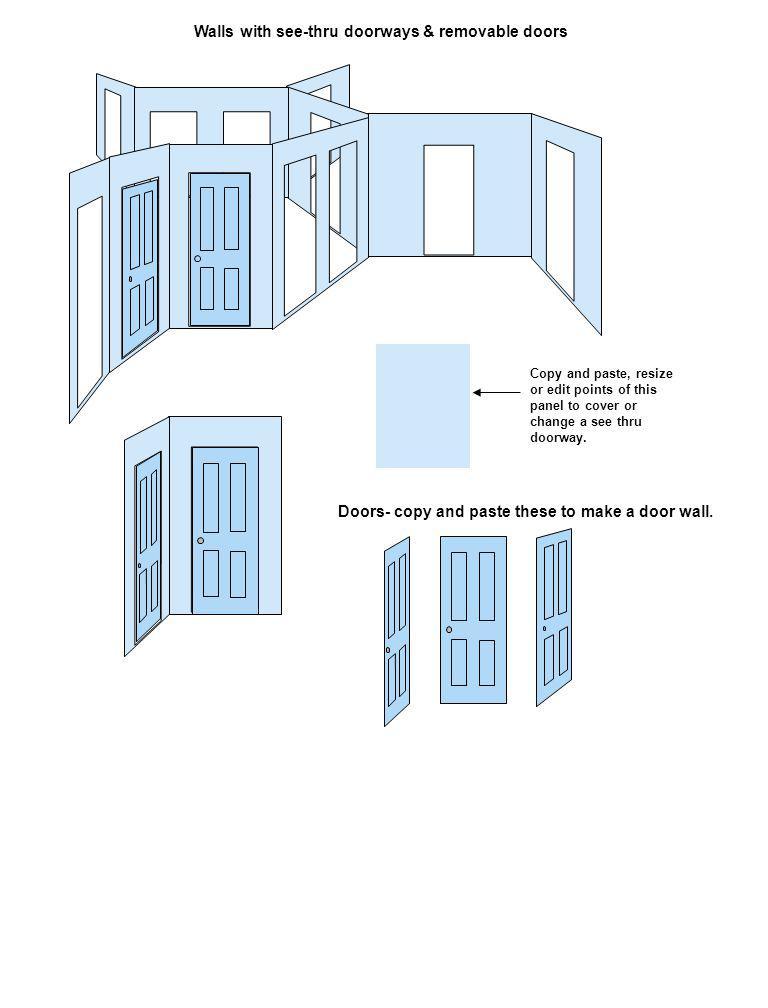 Walls with see-thru doorways & removable doors