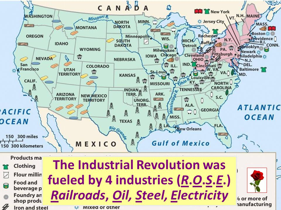 The Industrial Revolution was fueled by 4 industries (R. O. S. E