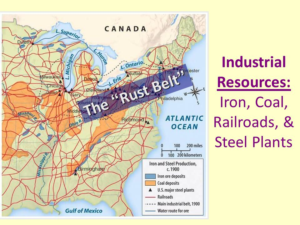 Industrial Resources: Iron, Coal, Railroads, & Steel Plants