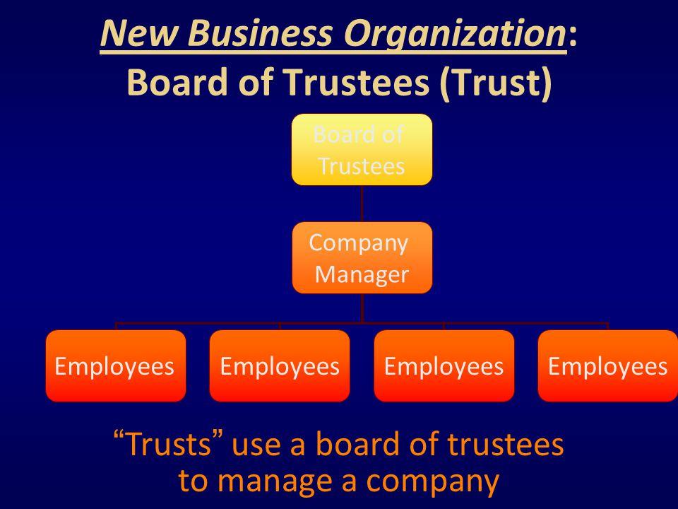 New Business Organization: Board of Trustees (Trust)