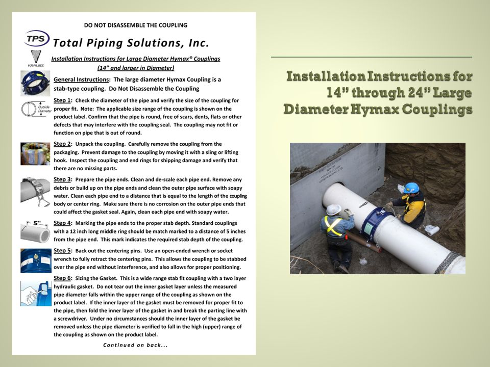 Installation Instructions for 14 through 24 Large Diameter Hymax Couplings