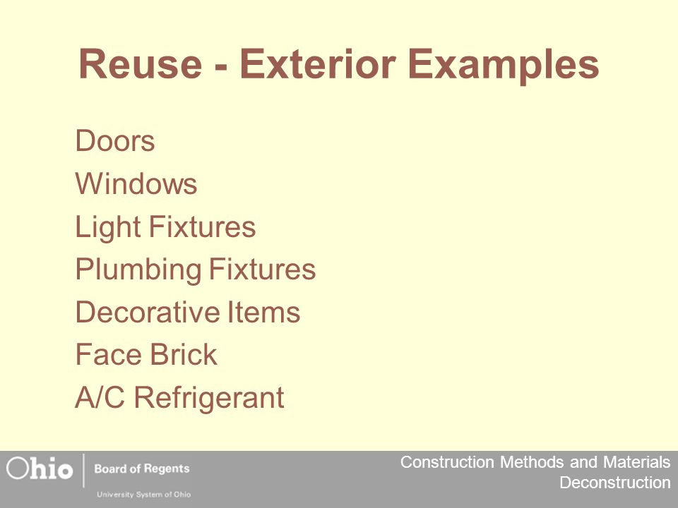 Reuse - Exterior Examples
