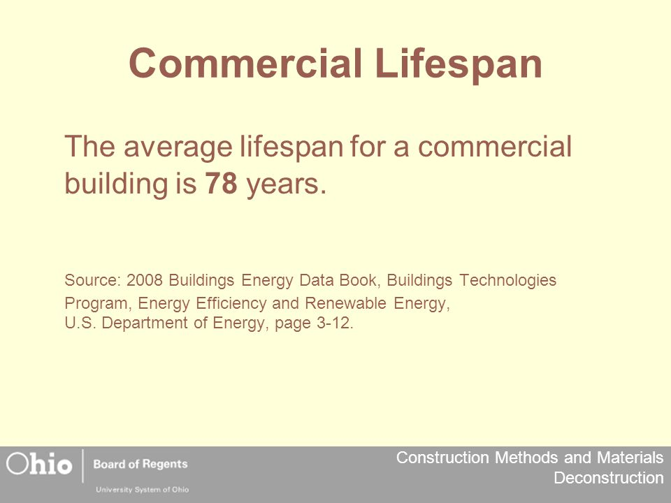 Commercial Lifespan The average lifespan for a commercial building is 78 years.