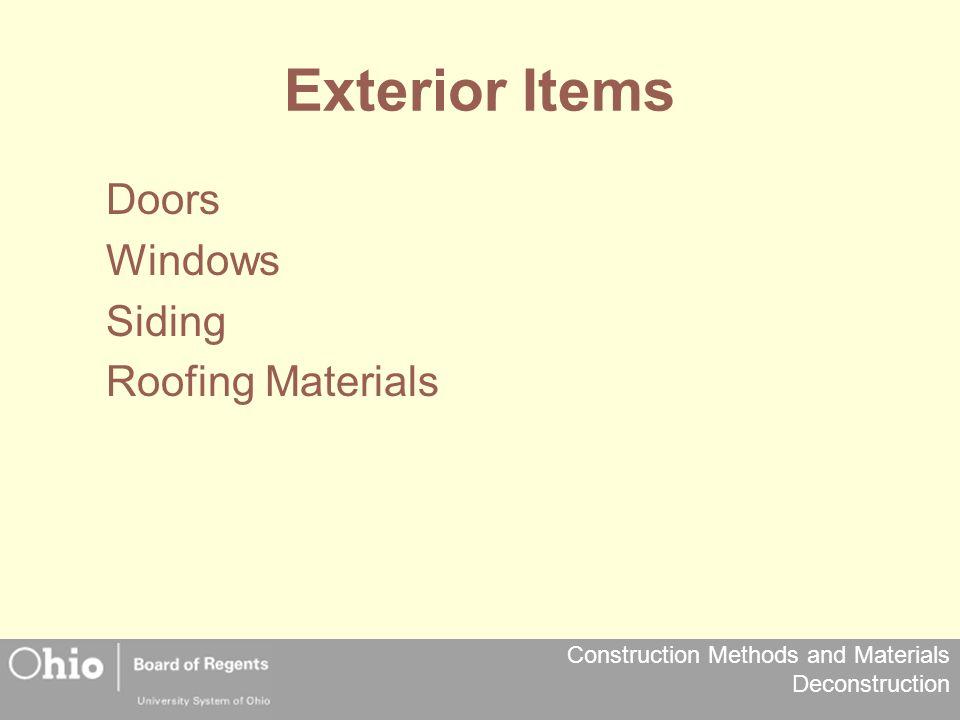 Exterior Items Doors Windows Siding Roofing Materials