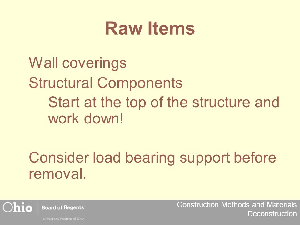 Raw Items Wall coverings Structural Components