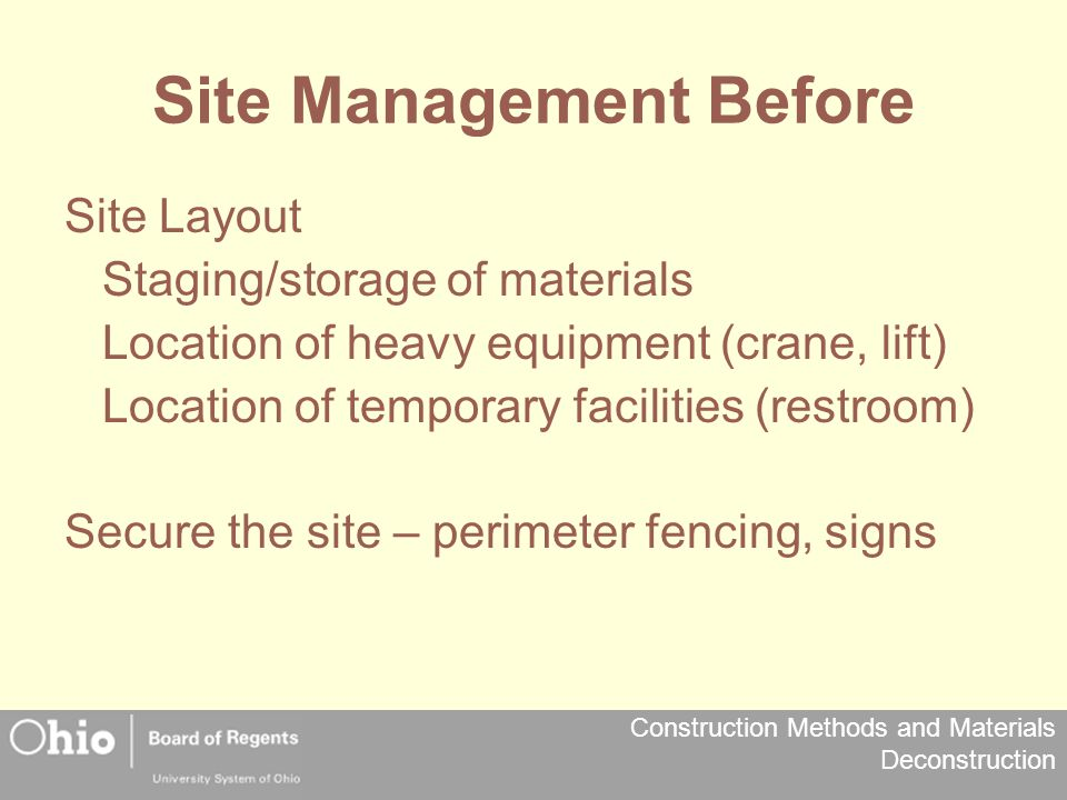 Site Management Before