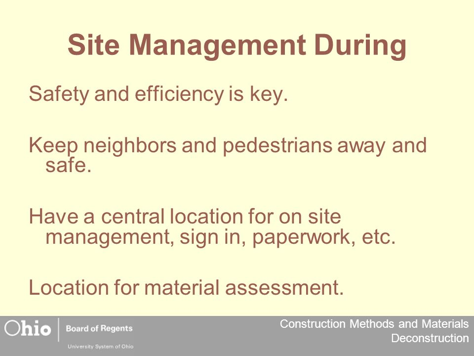 Site Management During