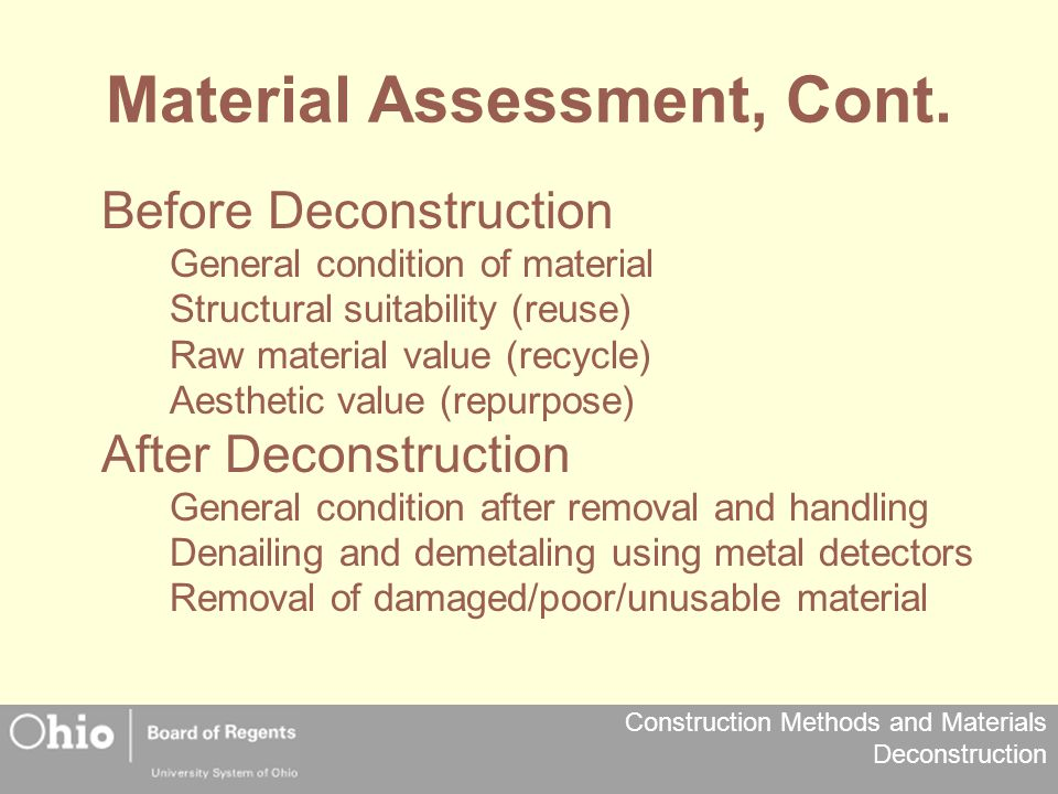 Material Assessment, Cont.