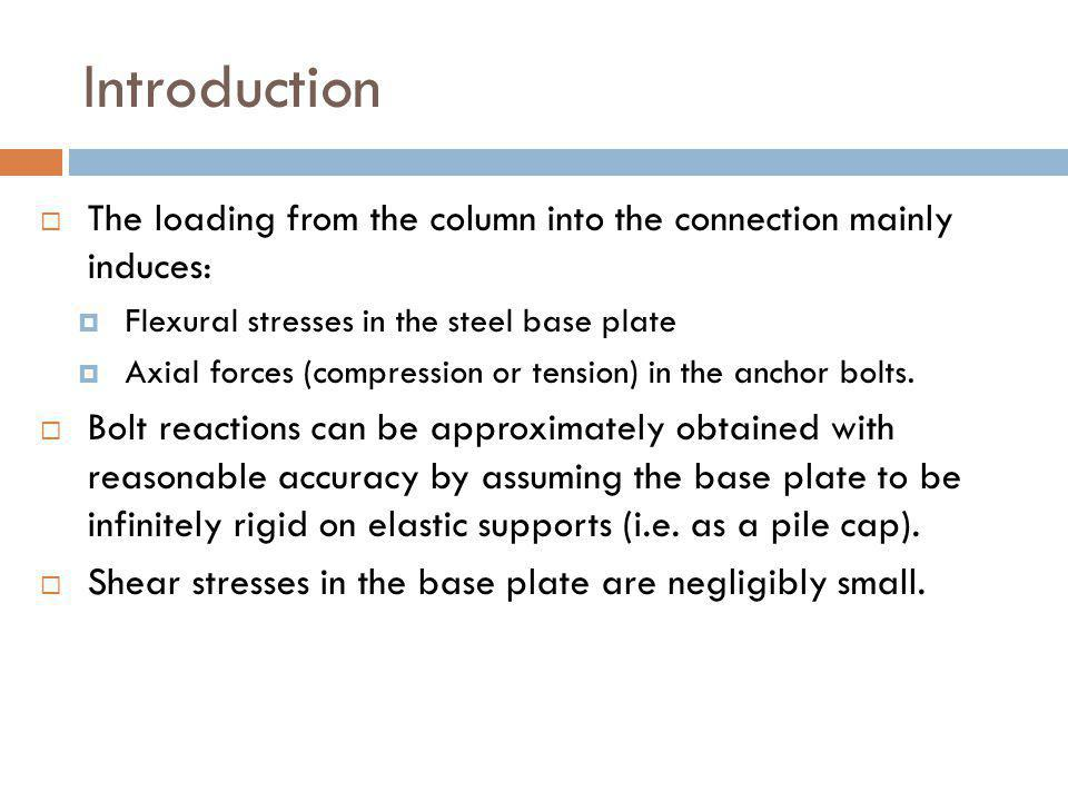 Introduction The loading from the column into the connection mainly induces: Flexural stresses in the steel base plate.
