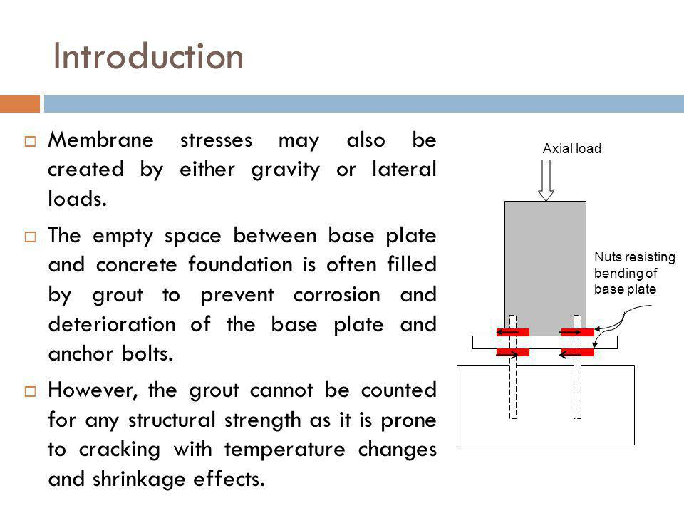 Introduction Membrane stresses may also be created by either gravity or lateral loads.