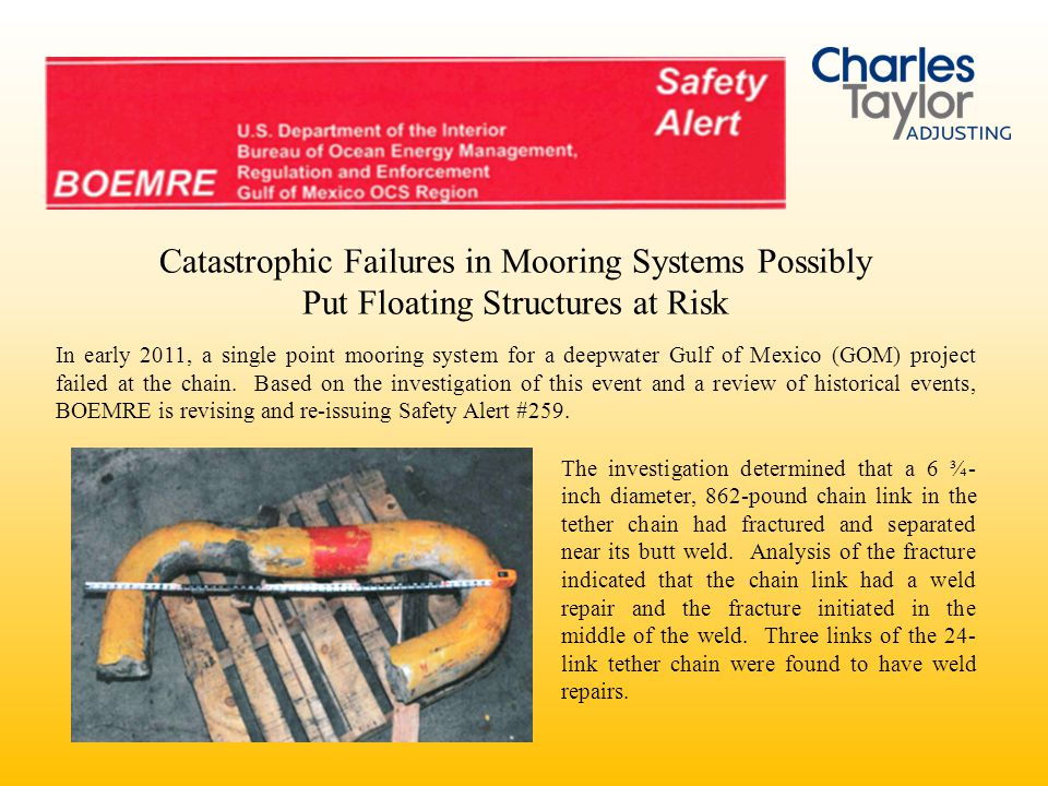 Catastrophic Failures in Mooring Systems Possibly Put Floating Structures at Risk