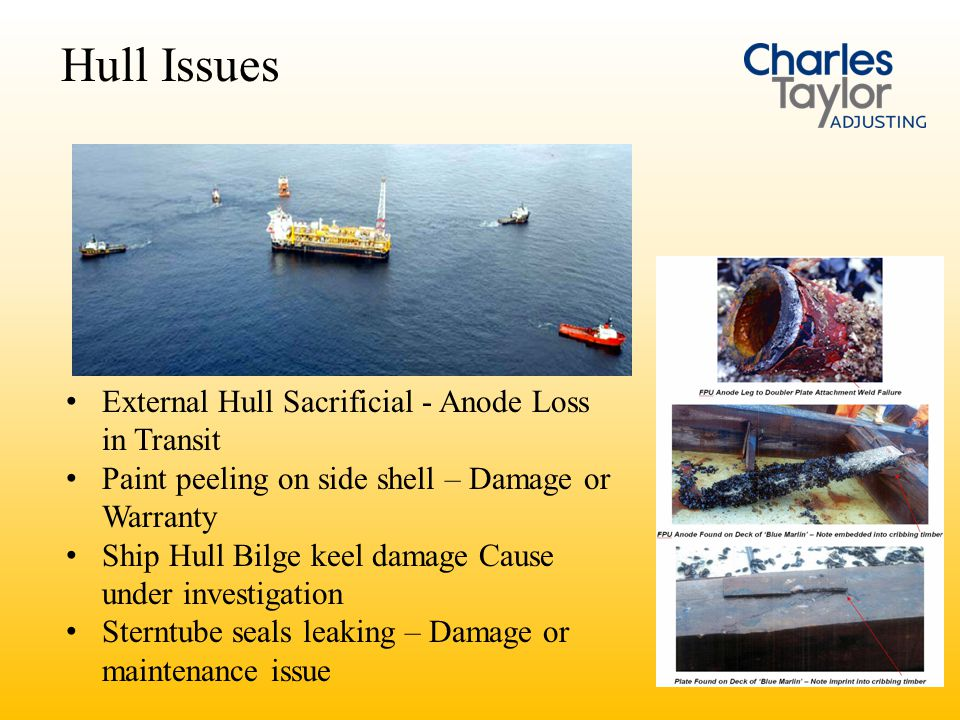 Hull Issues External Hull Sacrificial - Anode Loss in Transit