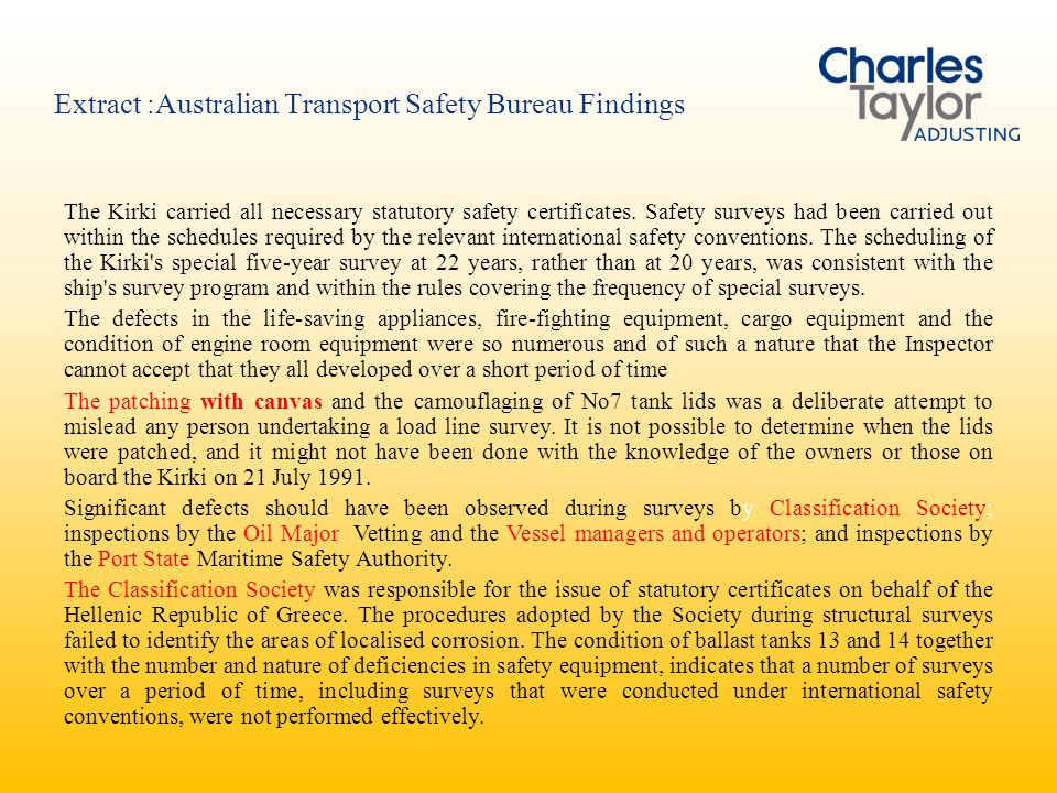 Extract :Australian Transport Safety Bureau Findings