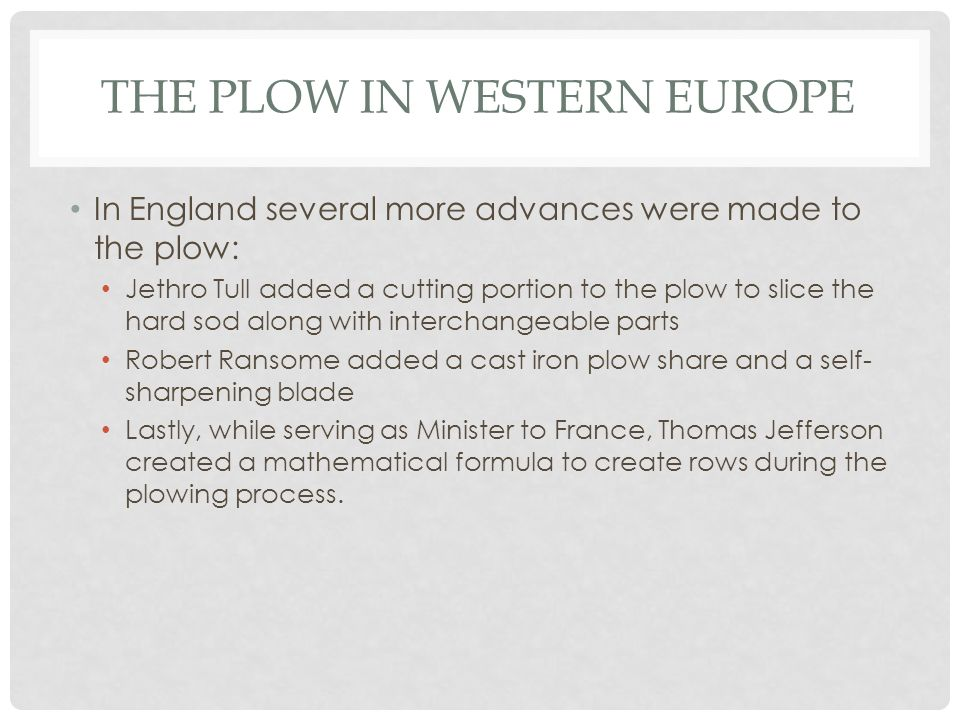 The plow in Western Europe