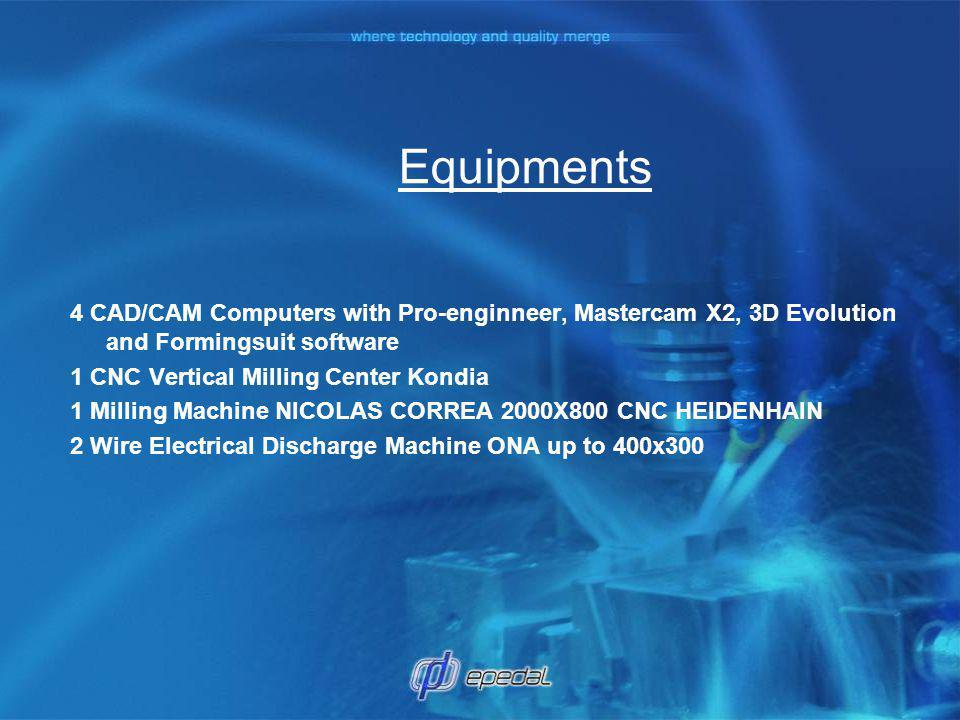 Equipments 4 CAD/CAM Computers with Pro-enginneer, Mastercam X2, 3D Evolution and Formingsuit software.