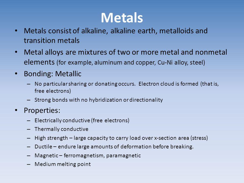 Metals Metals consist of alkaline, alkaline earth, metalloids and transition metals.