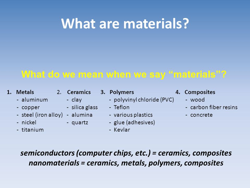 What are materials What do we mean when we say materials