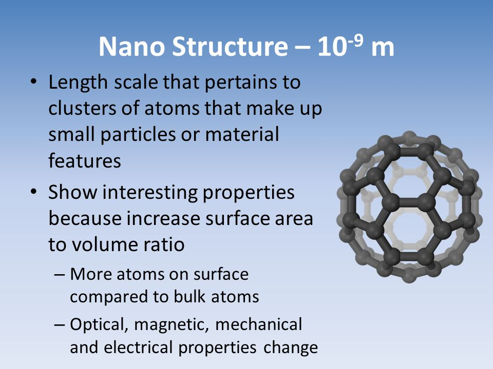 Nano Structure – 10-9 m Length scale that pertains to clusters of atoms that make up small particles or material features.