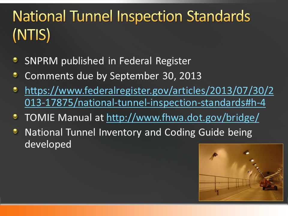 National Tunnel Inspection Standards (NTIS)