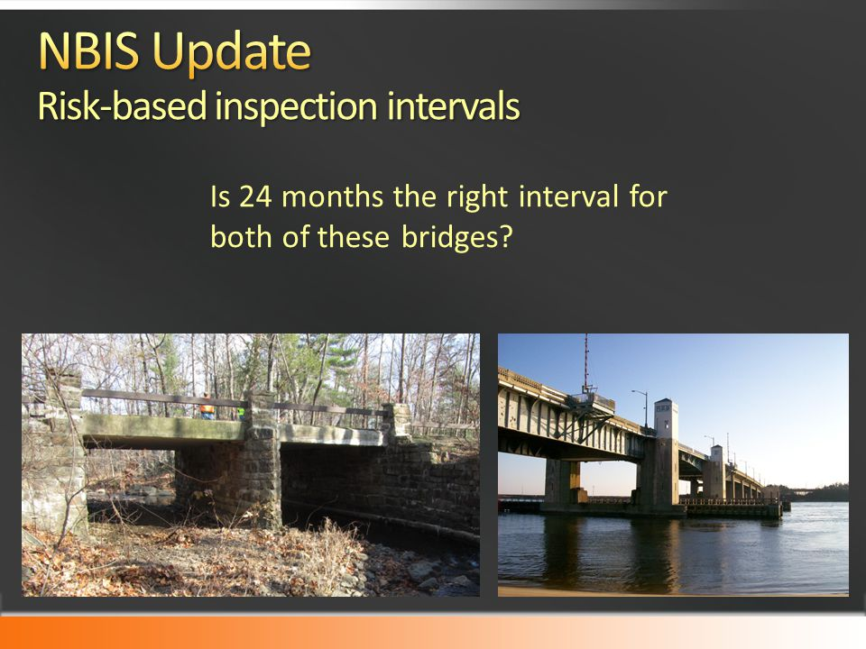 NBIS Update Risk-based inspection intervals